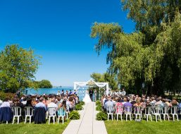 Outdoor Wedding With The Ocean In The Background