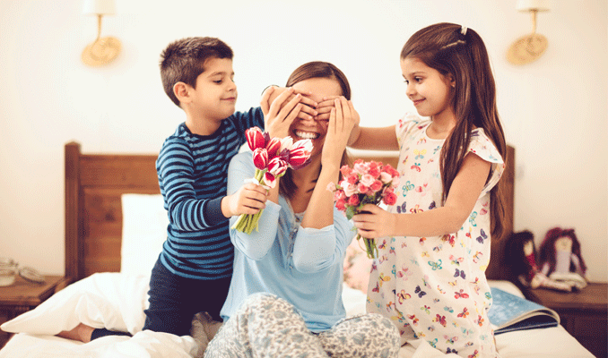 Mother & Children with Flowers